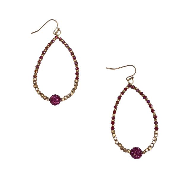 Maroon Crystal Beaded Earrings