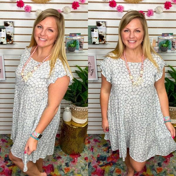 Floral Flutter Sleeve Babydoll Dress