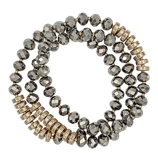 Hematite Beaded Bracelet Stack