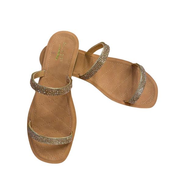 Double Rhinestone Strap Sandal