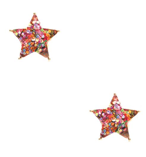 Multi Glitter Star Studs