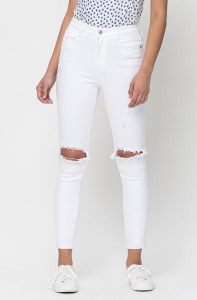 Allison High Rise White Jeans