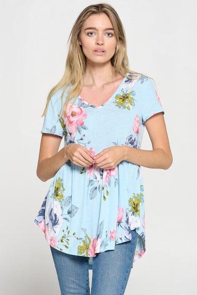Aqua Dakota Floral Babydoll Top