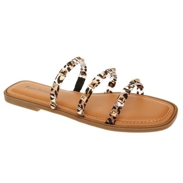 Leopard Studded Strap Dupe Sandals