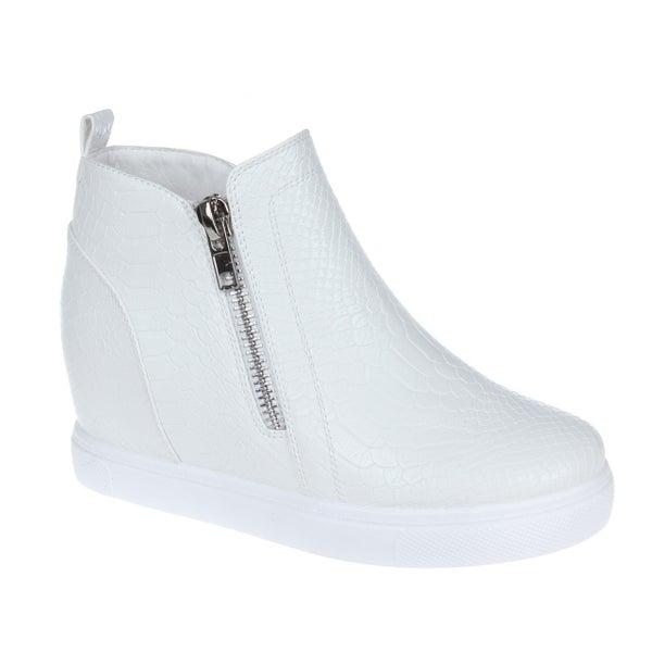 White Croc Wedge Sneakers