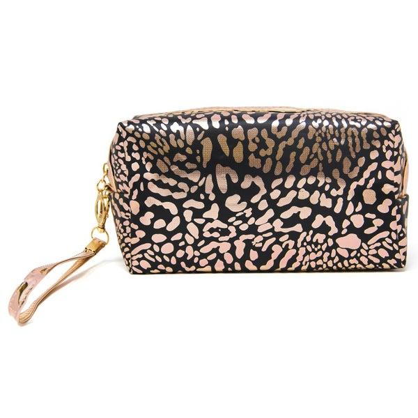 Rose Gold Black Cheetah Cosmetic Bag
