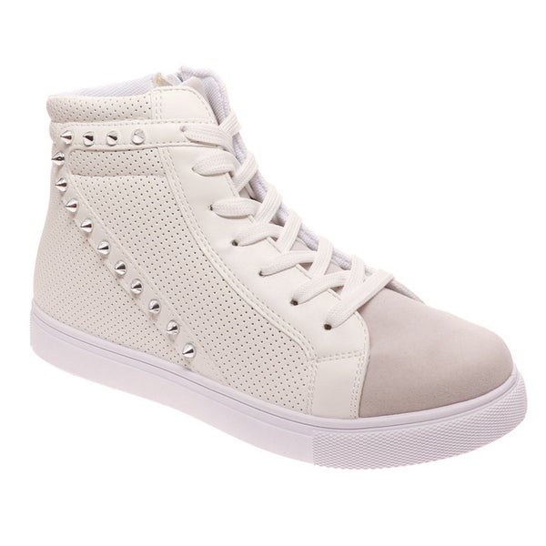 White Studded High Top Sneakers