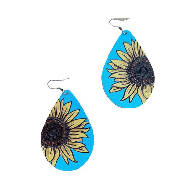 Aqua Sunflower Teardrop Earrings