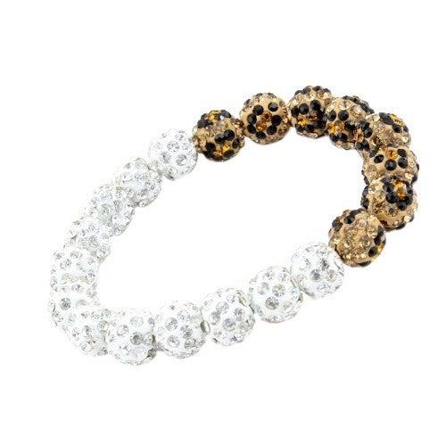 Crystal Leopard White Beaded Bracelet