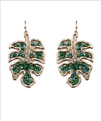 Tropical Leaf Beaded Earrings