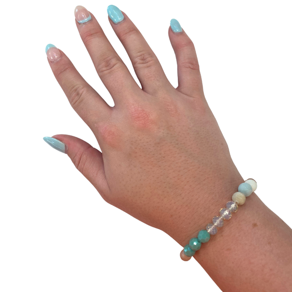 Mixed Turquoise Crystal Stretch Bracelet