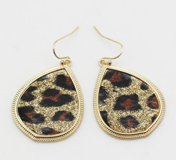 Glitter Leopard Earrings