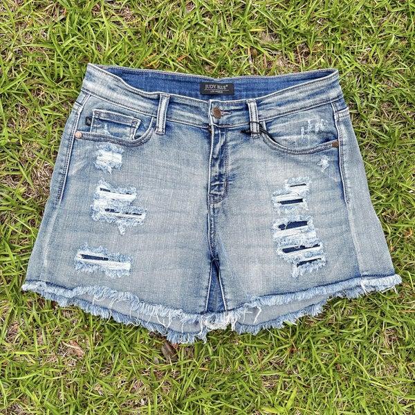 Acid Wash Distressed Patch Judy Blue Shorts