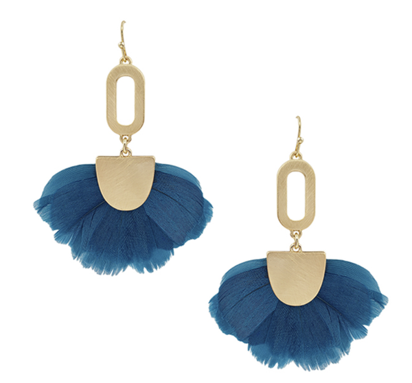 Teal Feathered Earrings