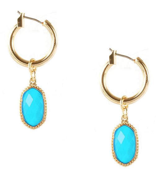 Turquoise Designer Inspired Dangle Hoops