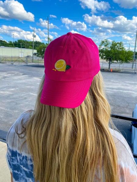 Hot Pink Lemon Embroidered Hat