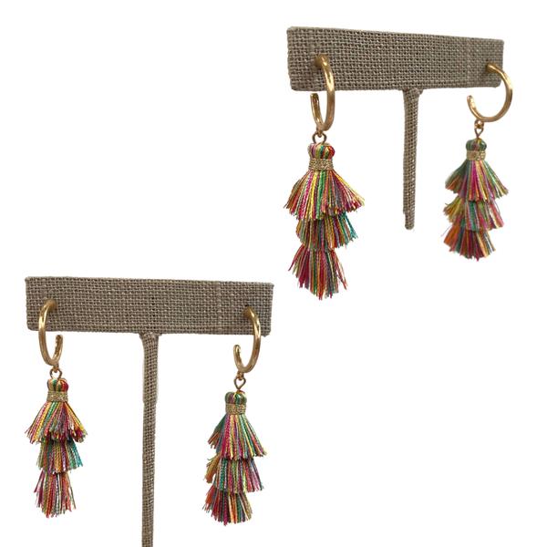 Multi Eleanor Tiered Tassel Earrings