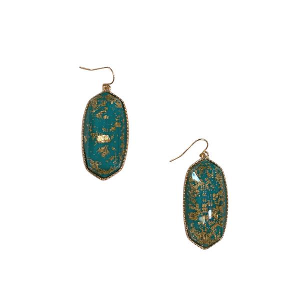 Teal Gold Foil Designer Inspired Earrings