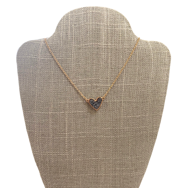 Charcoal Druzy Heart Necklace