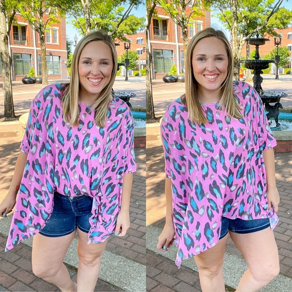 Pink Leopard Swing Tunic Top