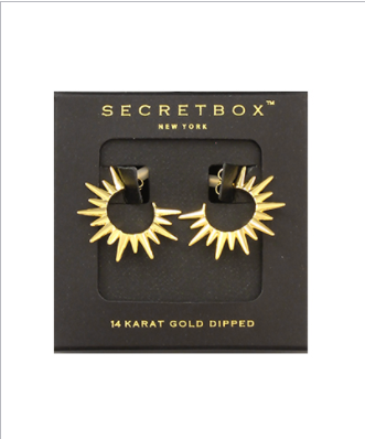 14K Gold Dipped Spiky Hoops