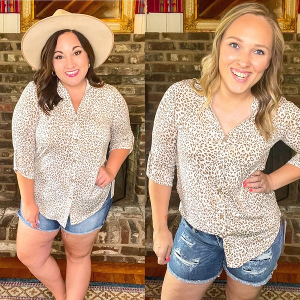Hayley Leopard Button Up Top
