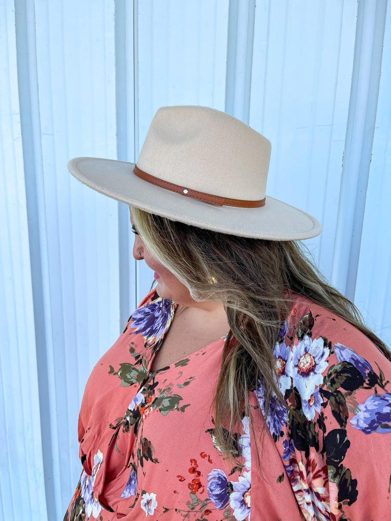 Taupe Wide Brim Hat with Leather Detail