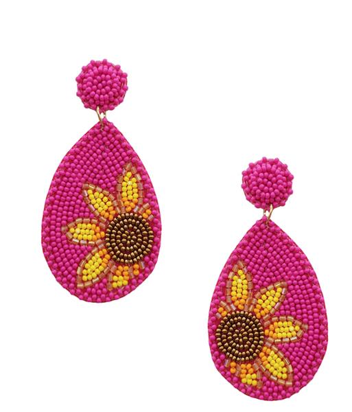 Fuchsia Beaded Sunflower Earrings