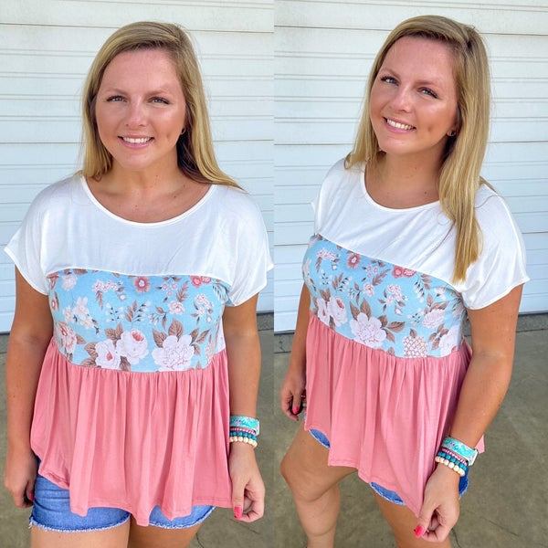 Indy Floral Colorblock Top