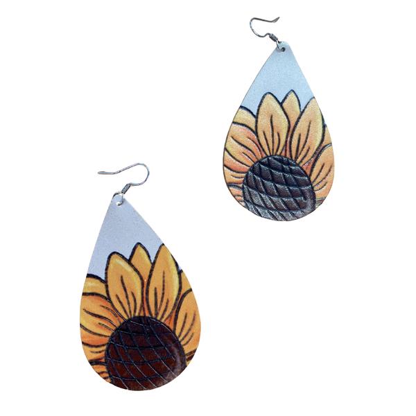 Genuine Leather Sunflower Teardrop Earrings