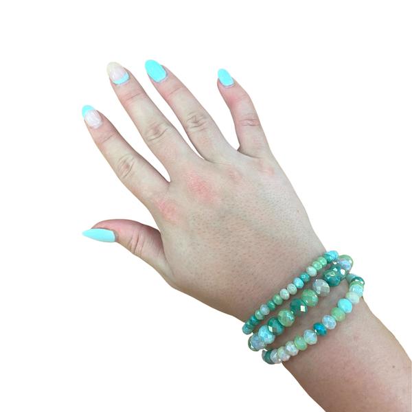 Mint Beaded Bracelet Stack