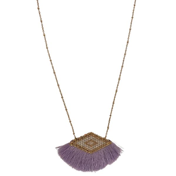 Metal Beaded Tassel Necklace