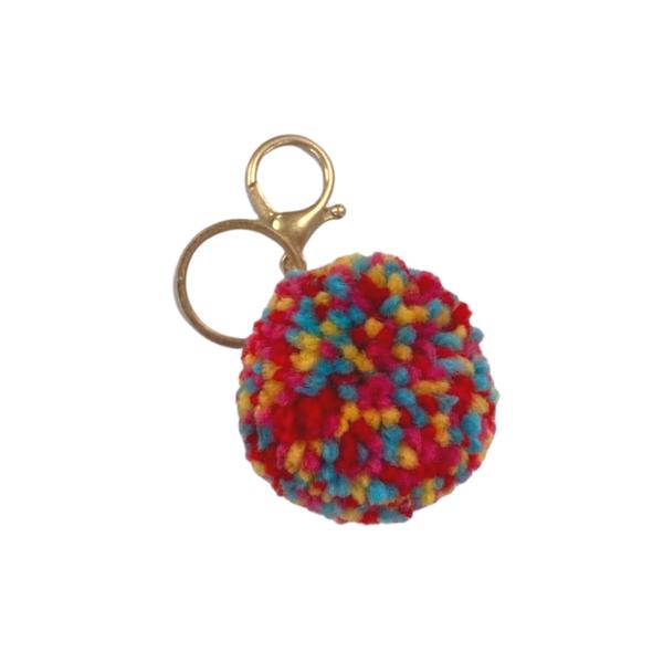 Multi-Color Pom Pom Keychain