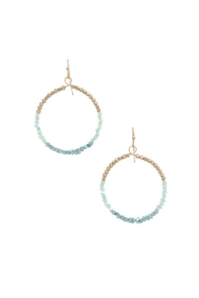 Mint Gold Nugget Hoop Earrings