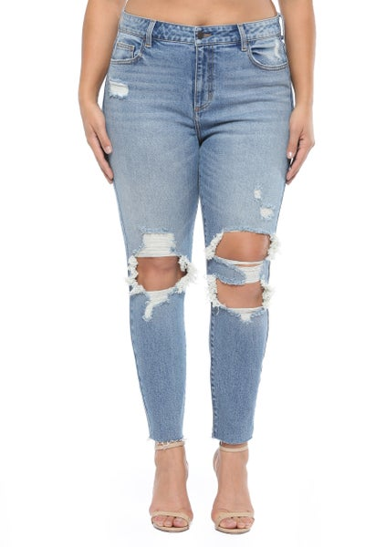 Raelynn Distressed Raw Hem Jeans