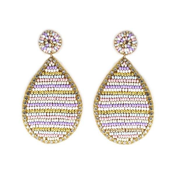 Stripe Pastel Beaded Teardrop Earrings