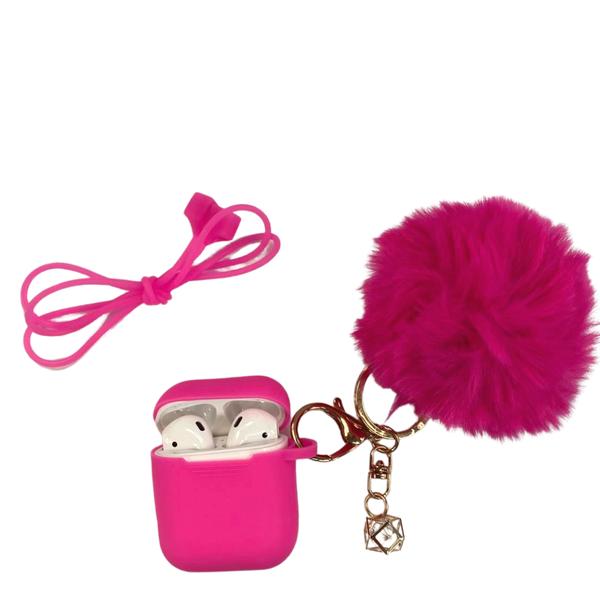 Hot Pink Pom Pom AirPods Case