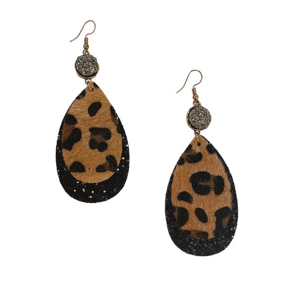 Glitter Leopard Druzy Earrings