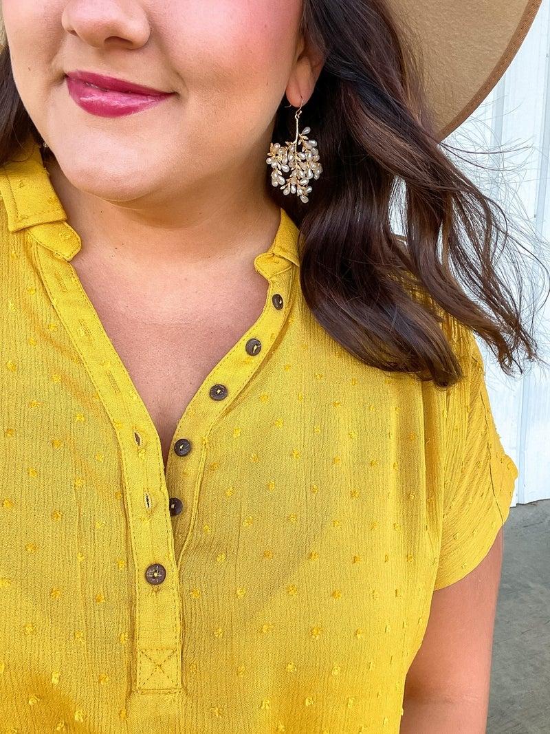 Marigold Swiss Dot Button-Up Top