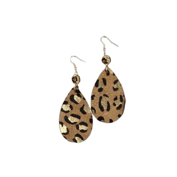 Leopard Bead Teardrop Earrings