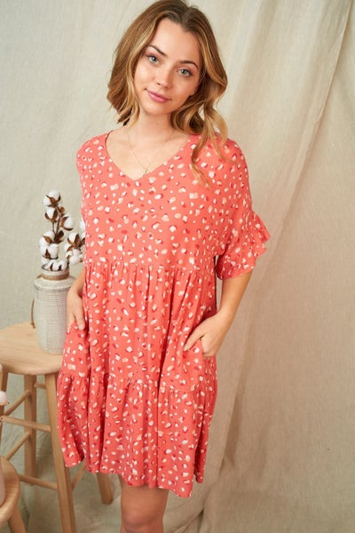 Coral Charlotte Dotty Dress