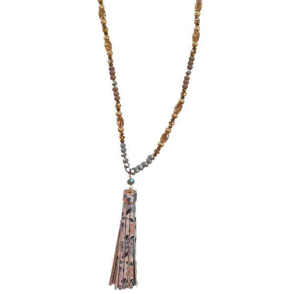 Grey Beaded Floral Tassel Necklace