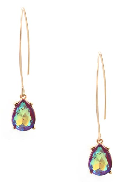 Purple Magic Drop Threader Earrings