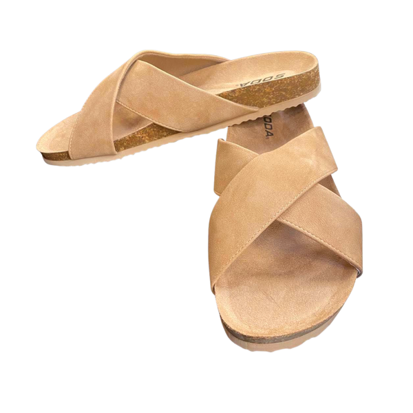 Taupe Midge Criss Cross Sandals