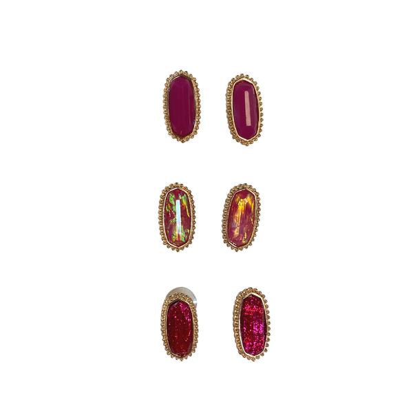 Fuchsia Glitter Designer Inspired Stud Set