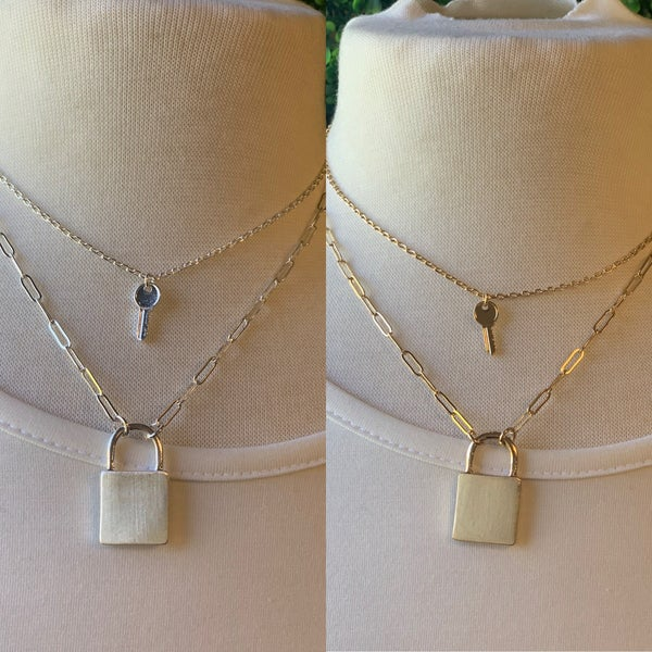 Matte Layered Lock and Key Necklace