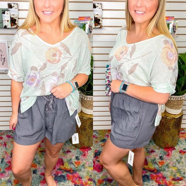 Grey Linen Cuffed Paperbag Shorts