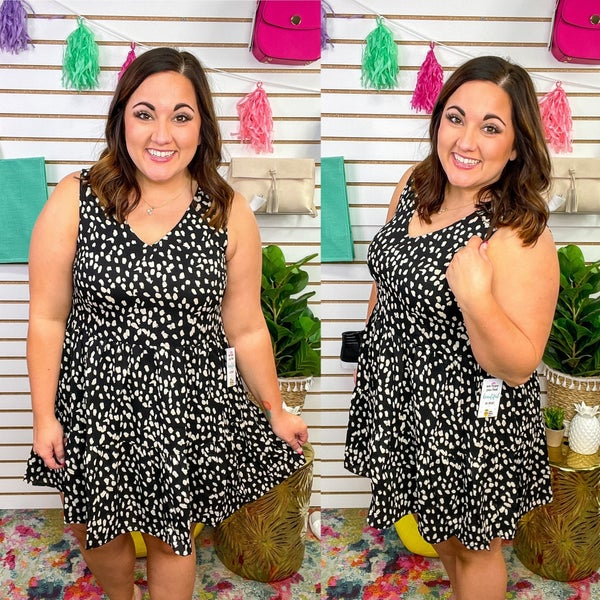 Delilah. Dotty Tiered Dress