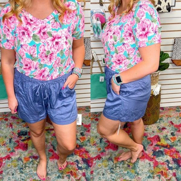 Denim Blue Paperbag Shorts