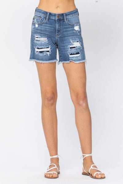 Jessie Patched Cut-Off Judy Blue Shorts